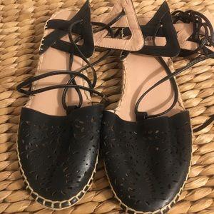 BN Topshop Lace up Leather Flat Espadrilles